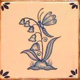 Rustic Delft Tiles 5 on hand painted tiles