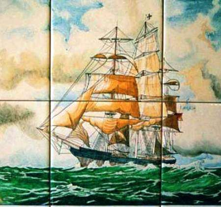 Sailing ship on hand painted tiles