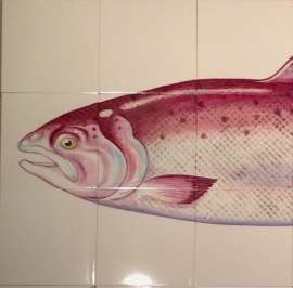 Trophy Fish - Salmon on hand painted tiles