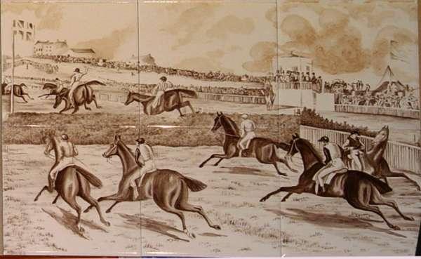 Sepia horse racing tile mural 1