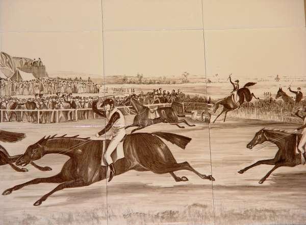 Sepia horse racing tile mural 2
