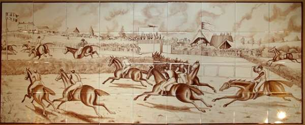 Tile mural - sepia horseracing print large
