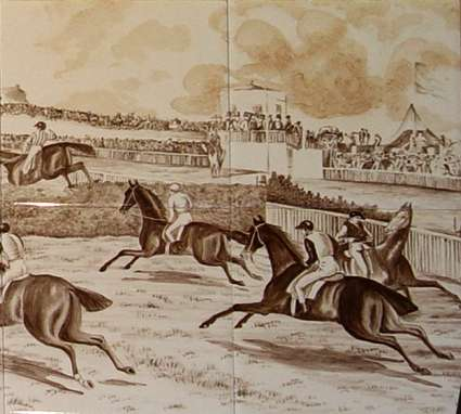 Sepia horse racing tile mural 1 on hand painted tiles