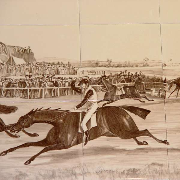 Sepia horse racing tile mural 2 on hand painted tiles