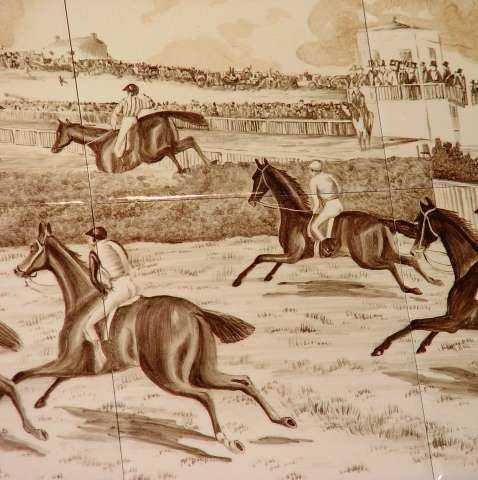 Sepia horse racing tile mural 3 on hand painted tiles