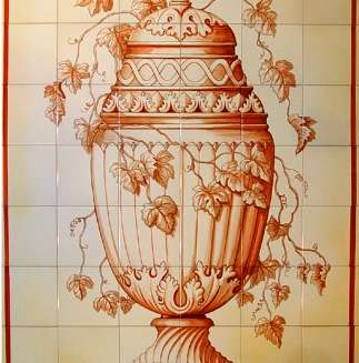 Sepia urn on hand painted tiles