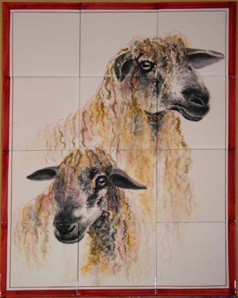 Sheep tile mural on hand painted tiles