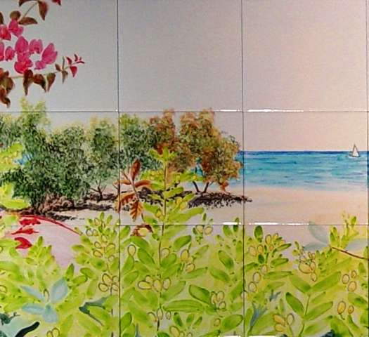 Honeymoon view on hand painted tiles
