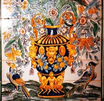 Portuguese vase of flowers on hand painted tiles