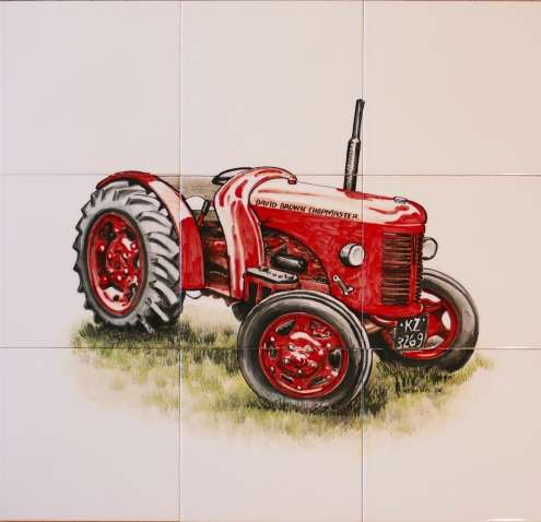 Tractor 1 on hand painted tiles