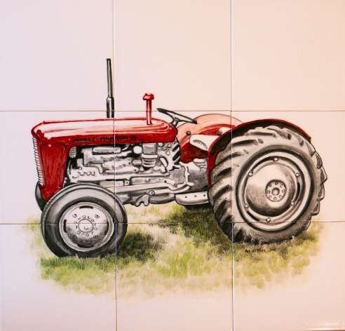 Tractor 2 on hand painted tiles