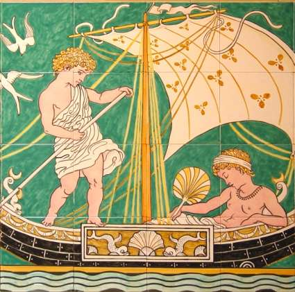 Walter Crane Panel on hand painted tiles
