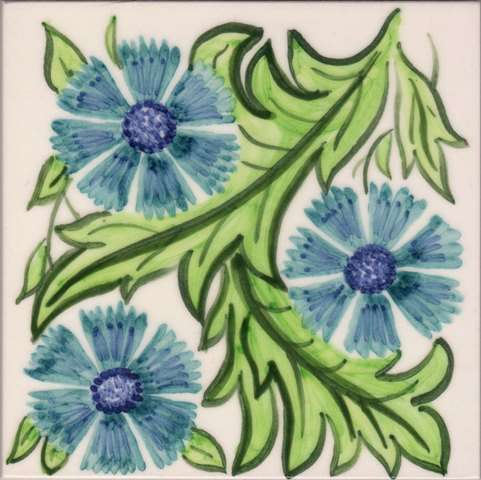 William Morris Floral 3 on hand painted tiles