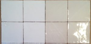 5 Inch Rustic Tile shown in clear and white glaze options