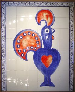 Hand painted tiles in cafes and restaurants