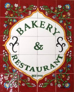 Handpainted tiles in cafes and shops