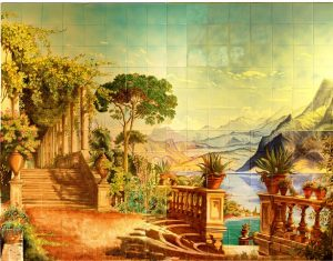 Hand painted tiles for swimming pools. Murals for pool surrounds on tiles.