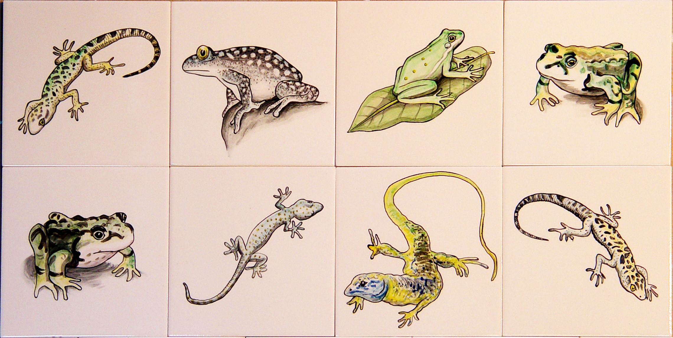 Animal hand painted tiles - Frogs and Lizards