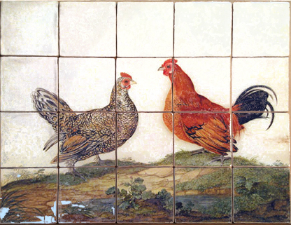 Chickens, hens, roosters and cockerels 18 - hand painted and hand made tiles