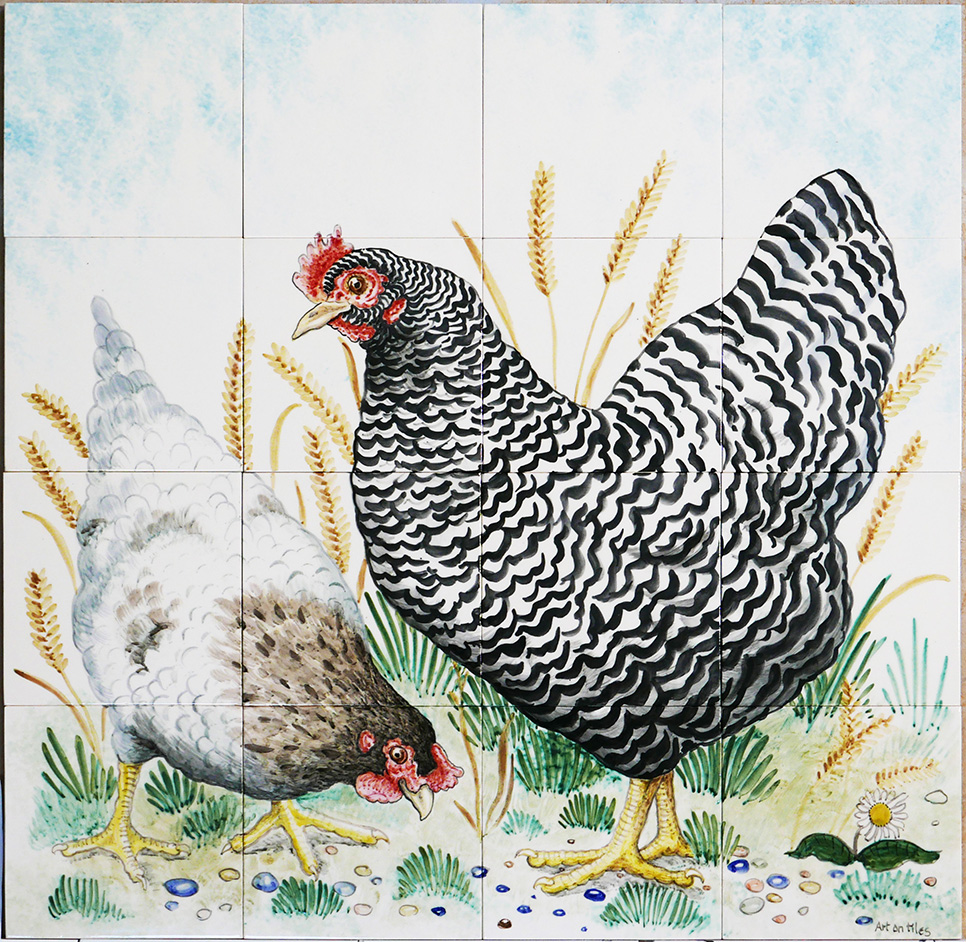 Chickens, hens, roosters and cockerels 19 – hand painted on tiles