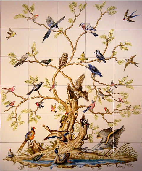 Tile Mural with birds and tree design.